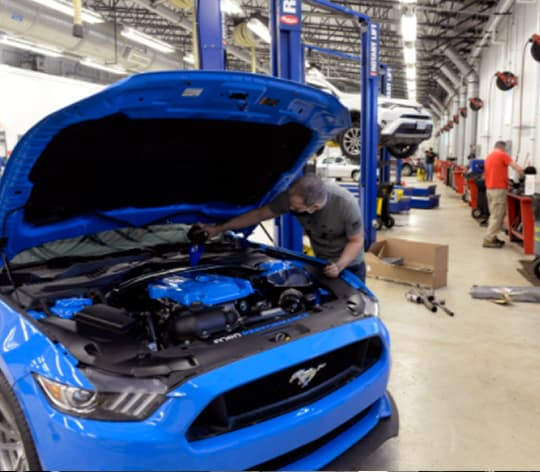 Four men working on cars at auto hobby shop