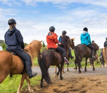 Group of people horseback riding