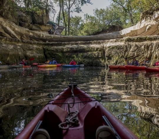 Kayaks at a lake