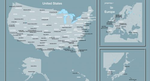 Map of all the Air Force Bases around the globe